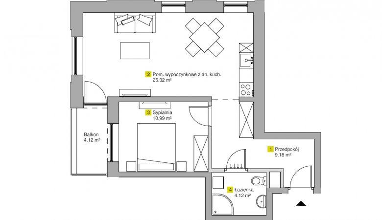 Apartament 2-pokojowy (ul. Kamienna 2A)